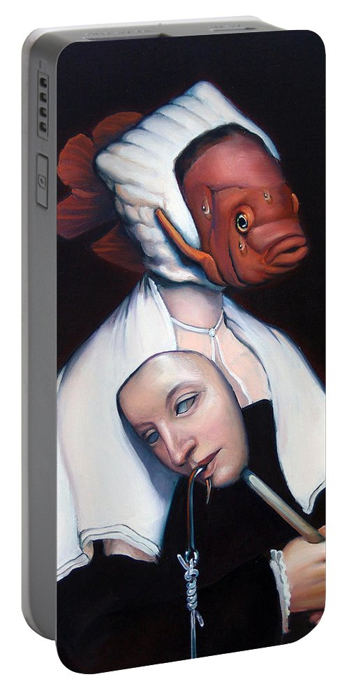 Fish Portable Battery Charger featuring the painting Allegory Of Fishing by Patrick Anthony Pierson