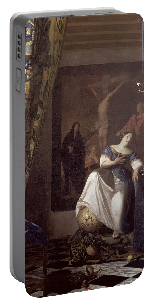 Vermeer Portable Battery Charger featuring the painting Allegory Of The Faith by Jan Vermeer
