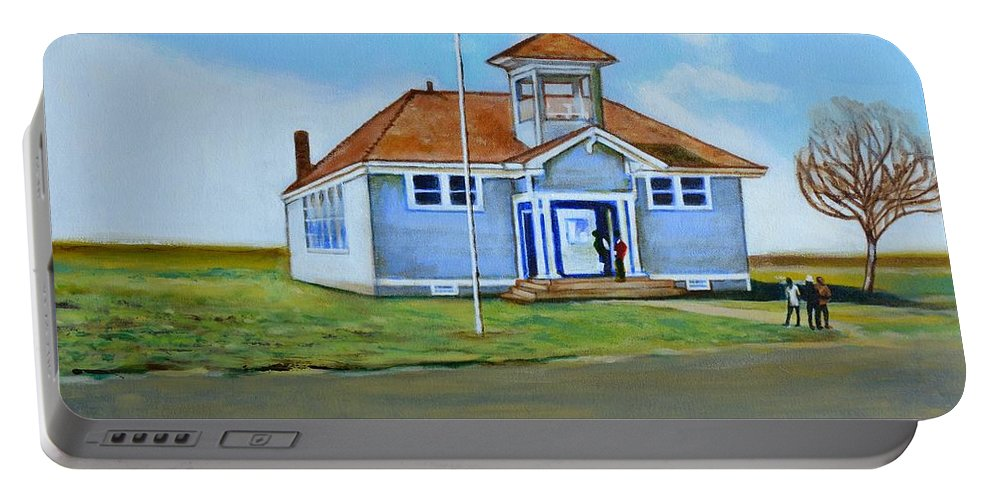 Buildings; School; Landscape; African American Community; Historical State Park; Portable Battery Charger featuring the painting Allensworth School by Howard Stroman