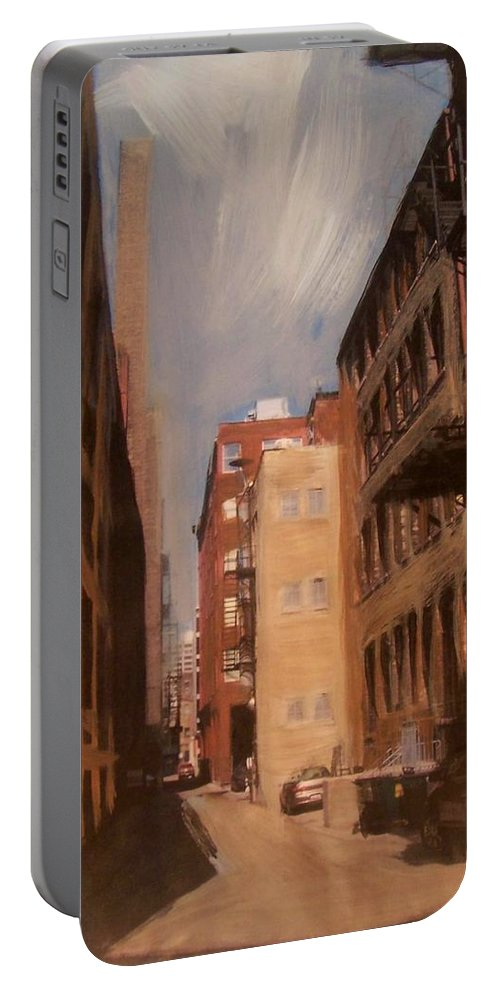 Alley Portable Battery Charger featuring the mixed media Alley Series 1 by Anita Burgermeister