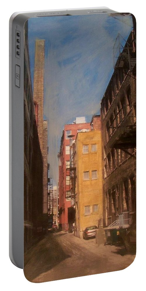 Alley Portable Battery Charger featuring the mixed media Alley Series 2 by Anita Burgermeister
