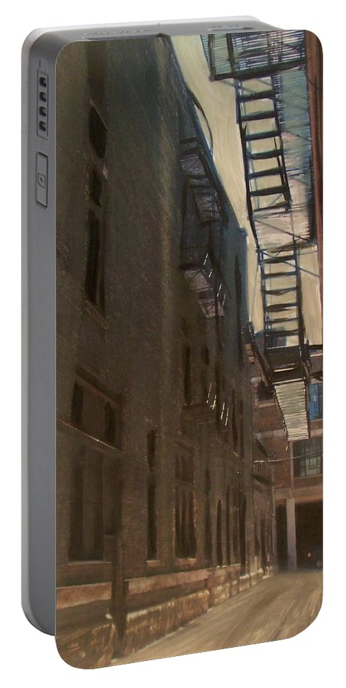Alley Portable Battery Charger featuring the painting Alley Series 5 by Anita Burgermeister