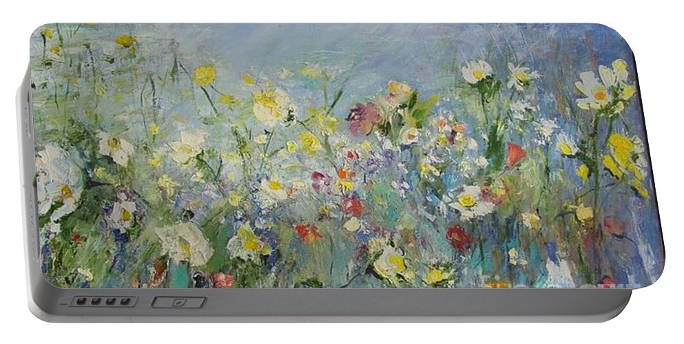Portable Battery Charger featuring the painting Allons Jouer Dans Les Fleurs by Aline Halle-Gilbert