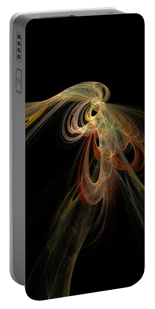Abstract Digital Art Colorful Print Original Saskatchewan Artist Gold Yellow Brown Orange Collectors Gallery Images Portable Battery Charger featuring the digital art Allure by Andrea Lawrence