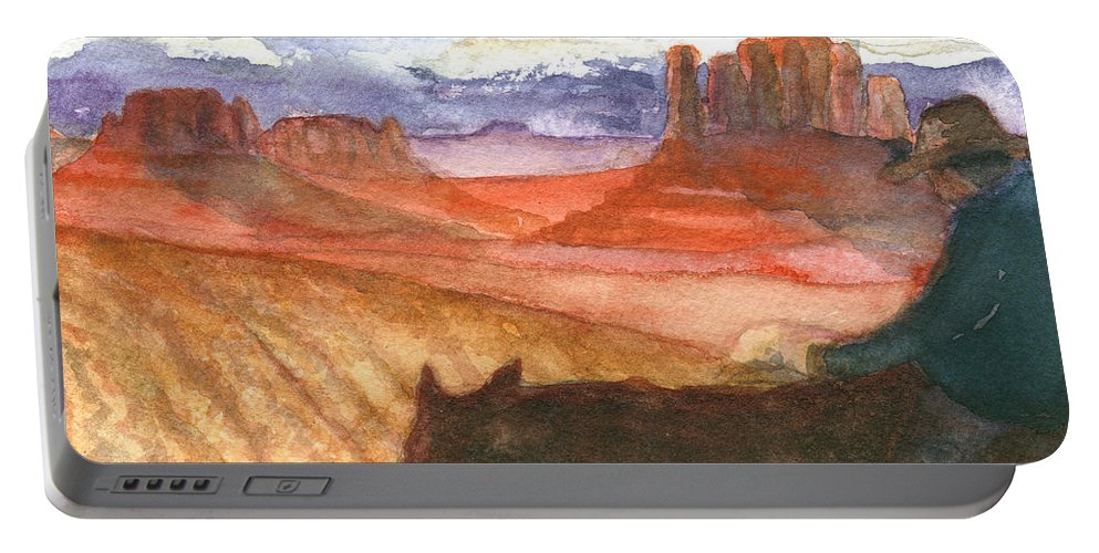 Navajo Portable Battery Charger featuring the painting Almost Home by Eric Samuelson