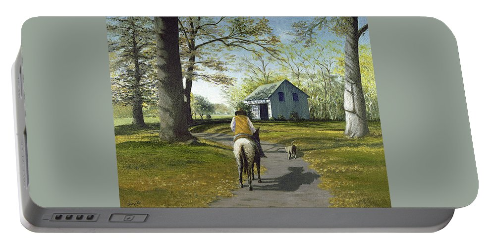 Portable Battery Charger featuring the painting Almost Home 16x20 by Tony Scarmato