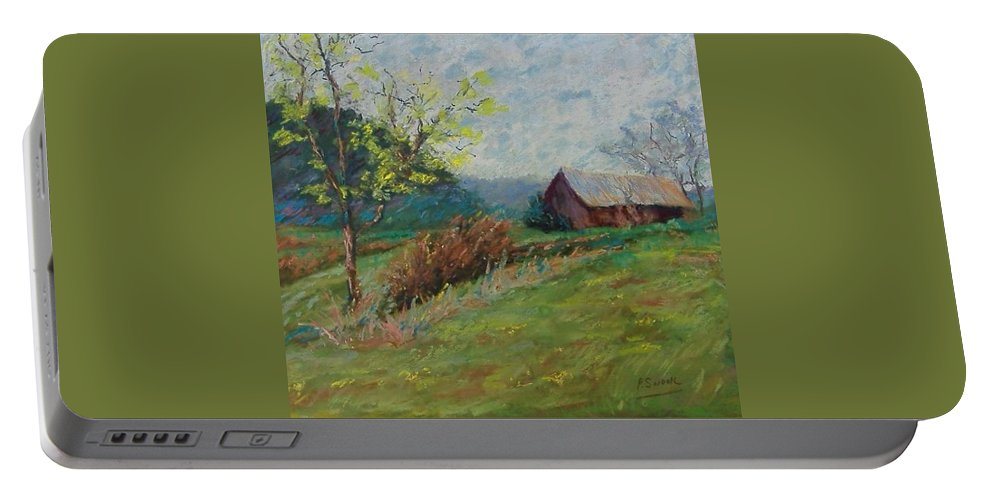 Landscape Portable Battery Charger featuring the pastel Almost Spring by Pat Snook
