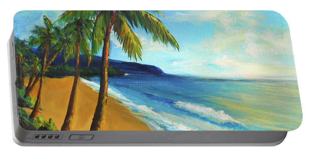 Beach Portable Battery Charger featuring the painting Aloha by Hanako Hawaii