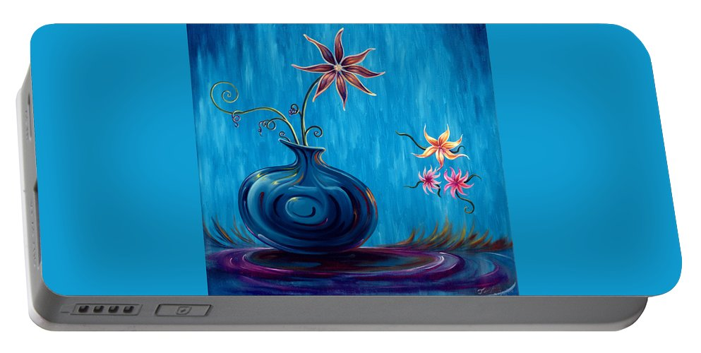 Fantasy Floral Scape Portable Battery Charger featuring the painting Aloha Rain by Jennifer McDuffie