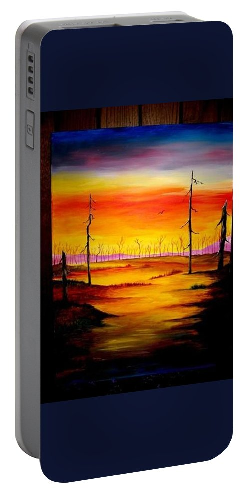 Landscape Portable Battery Charger featuring the painting Alone by Glory Fraulein Wolfe