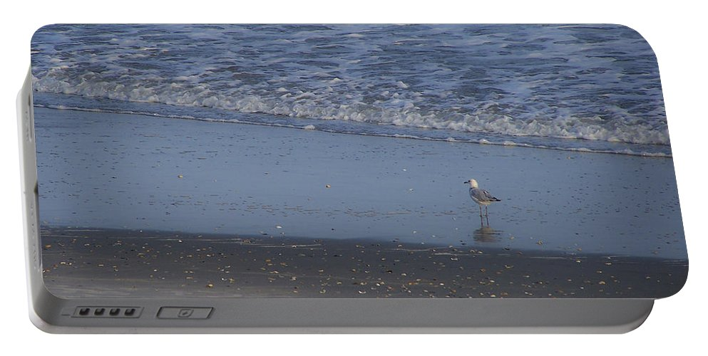Ocean Portable Battery Charger featuring the photograph Alone In The Sand by Teresa Mucha