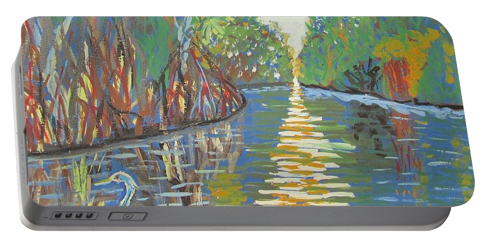 Blue Heron Portable Battery Charger featuring the painting Alone by Jennylynd James
