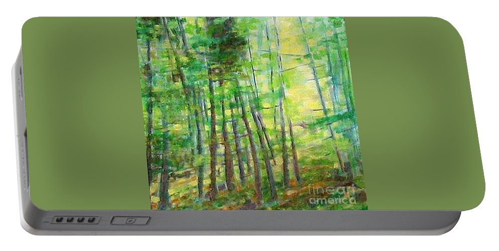 Landscape Portable Battery Charger featuring the painting Along Buckslide Road by Karen Sloan
