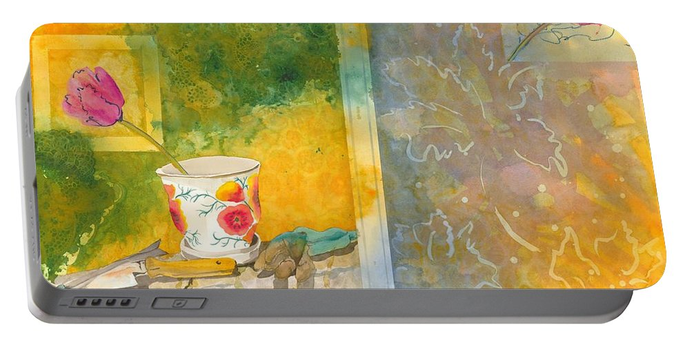 Garden Portable Battery Charger featuring the painting Along The Garden Wall by Jean Blackmer