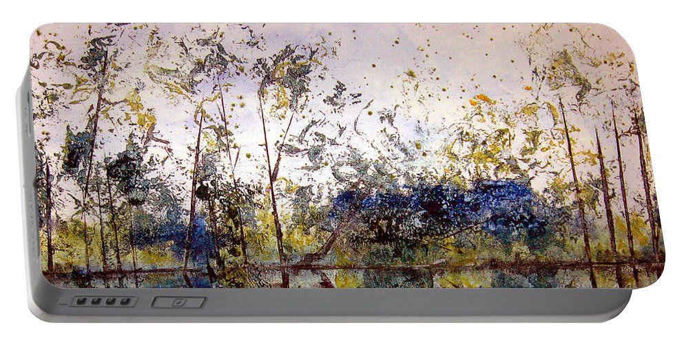 Abstract Portable Battery Charger featuring the painting Along The River Bank by Ruth Palmer