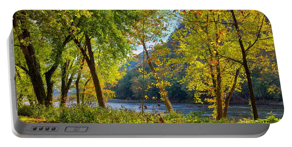 Sky Portable Battery Charger featuring the photograph Along The Shenandoah River by John M Bailey
