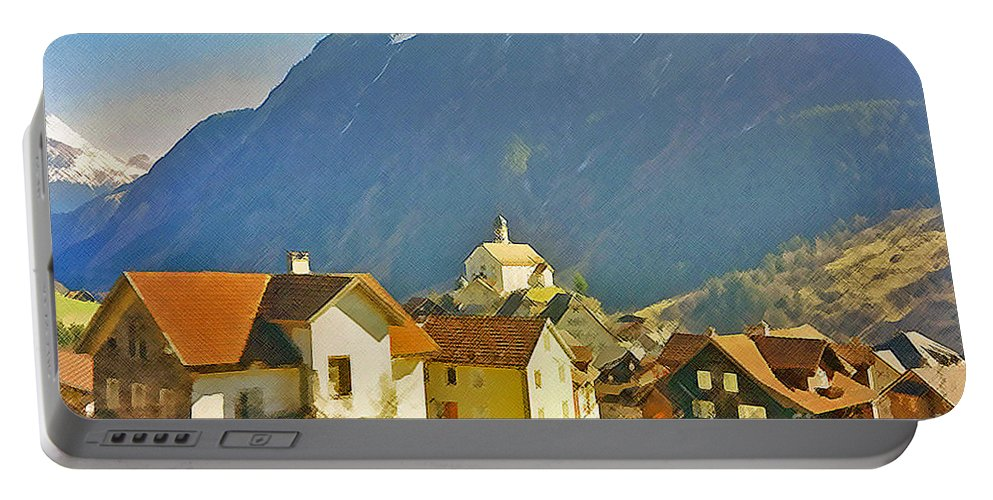 Alps Portable Battery Charger featuring the photograph Alp Village by Jost Houk