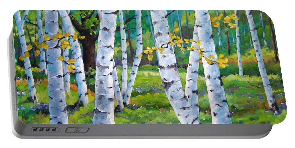 Birche; Birches; Tree; Trees; Nature; Landscape; Landscapes Scenic; Richard T. Pranke; Canadian Artist Painter Portable Battery Charger featuring the painting Alpine Flowers And Birches by Richard T Pranke