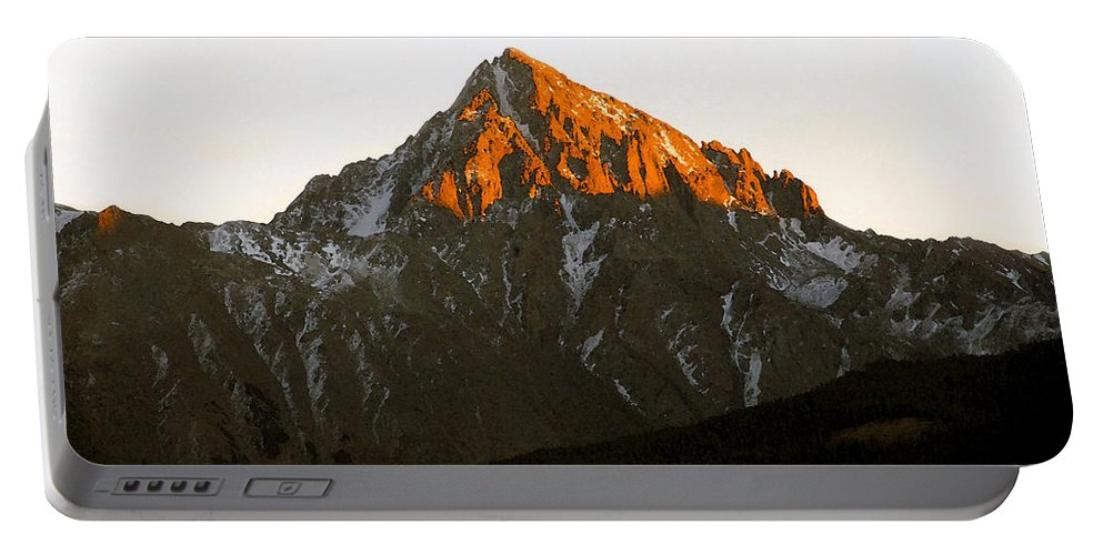 Alpine Glow Portable Battery Charger featuring the painting Alpine Glow by David Lee Thompson