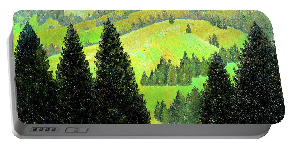 Alps Portable Battery Charger featuring the painting Alpine Hills by Richard Votch