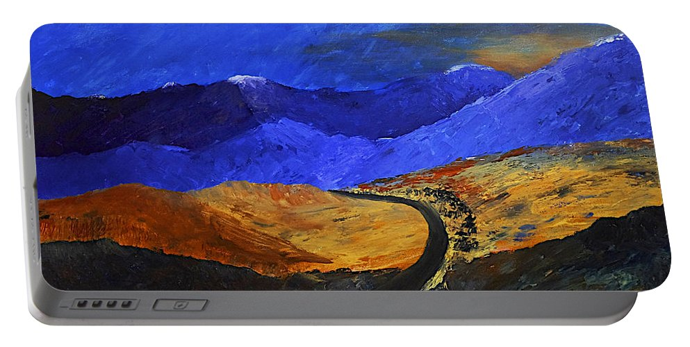 Mountains Portable Battery Charger featuring the painting Alpine Vista by Dick Bourgault