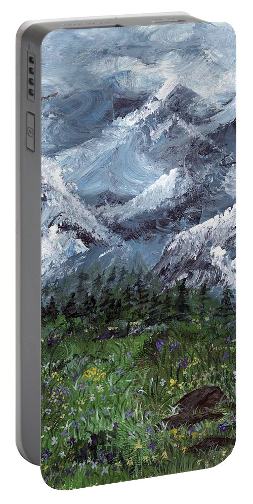 Mountains Portable Battery Charger featuring the painting Alps by Donna Blackhall