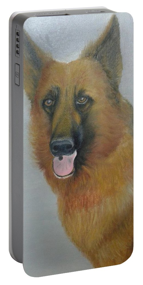 Portable Battery Charger featuring the painting alsheshan Dog by Natarajan Vengapur Govindasamy Pillai