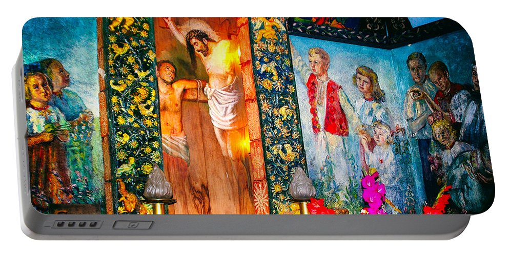 Mural Portable Battery Charger featuring the photograph Altar Painted By Famous John Walach by Mariola Bitner