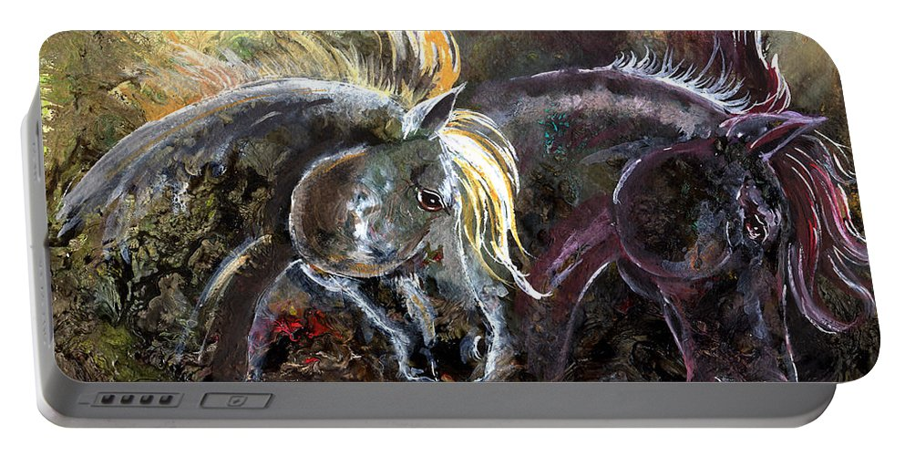 Horse Portable Battery Charger featuring the painting Alter Ego by Sherry Shipley