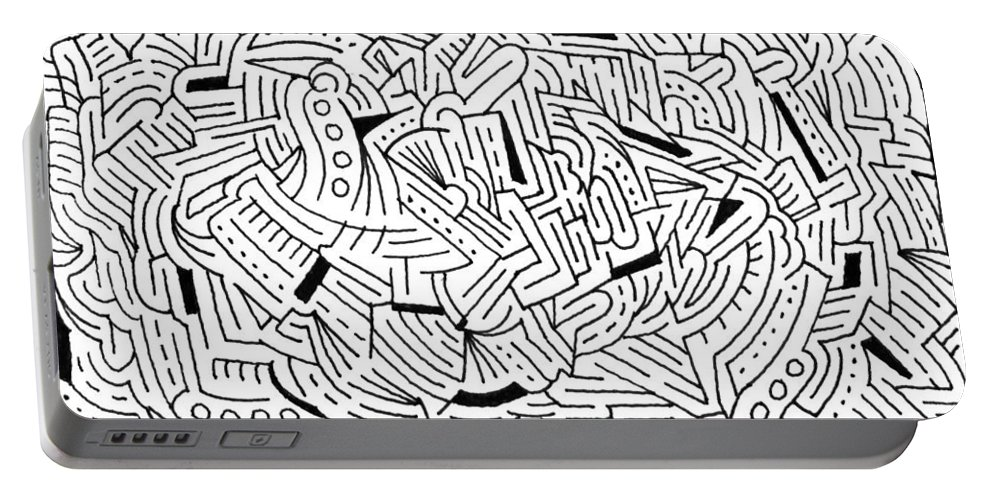 Mazes Portable Battery Charger featuring the drawing Alteration by Steven Natanson