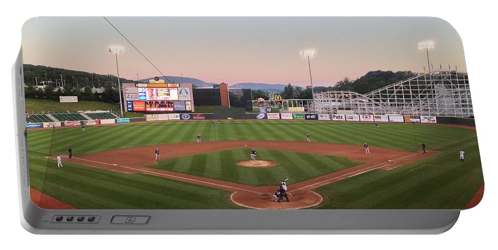 Altoona Portable Battery Charger featuring the photograph Altoona Curve Baseball Sunset by Brandon Hirt