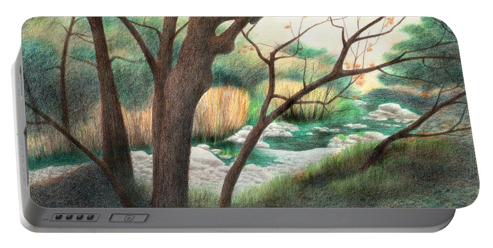 Alum Rock Park Portable Battery Charger featuring the drawing Alum Rock Park by Yelena Shabrova
