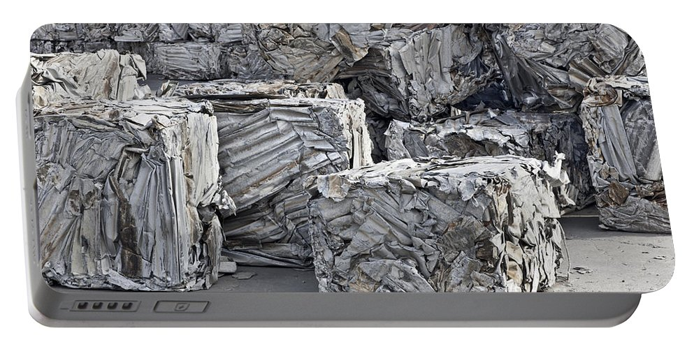 Aluminum Portable Battery Charger featuring the photograph Aluminum Recycling by Inga Spence