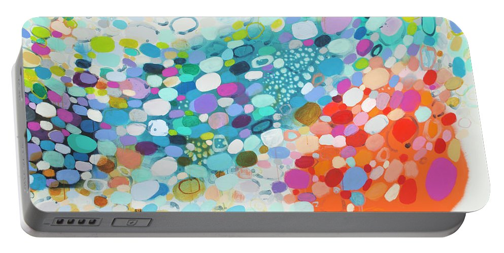 Abstract Portable Battery Charger featuring the painting Always Looking For True Love by Claire Desjardins