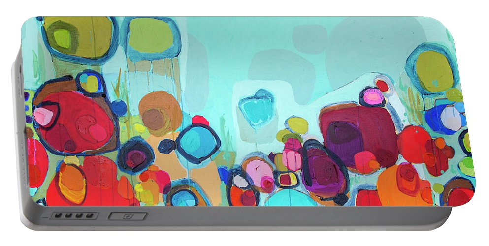 Abstract Portable Battery Charger featuring the painting Always Will Be by Claire Desjardins