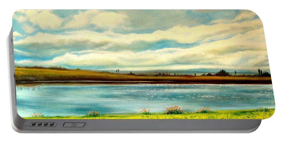 Landscape Portable Battery Charger featuring the painting Am I Dreaming by Elizabeth Robinette Tyndall