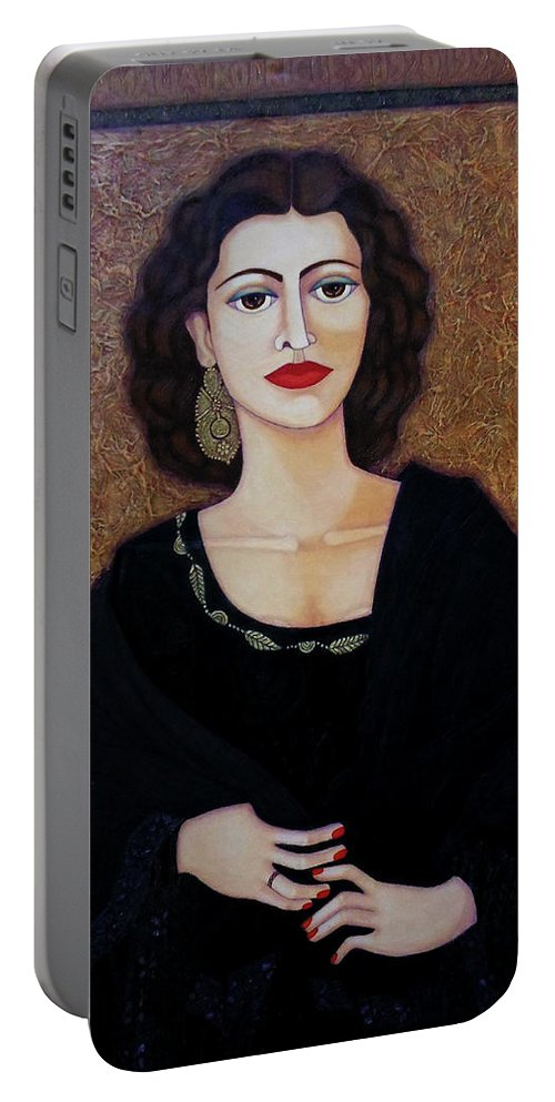 Portrait Portable Battery Charger featuring the painting Amalia Rodrigues - Music Born In The Soul by Madalena Lobao-Tello