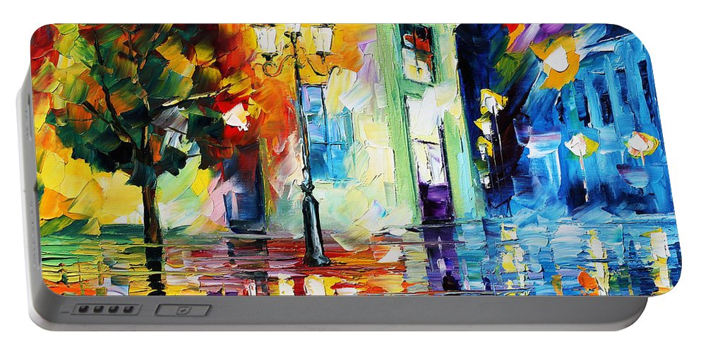 Afremov Portable Battery Charger featuring the painting Amazing Night by Leonid Afremov
