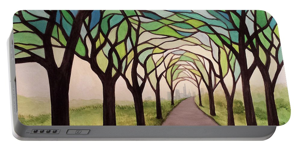 Stained Glass Style Painting Trees Path Skyline Portable Battery Charger featuring the painting Ambiguous Anthropocene by Beth Waltz