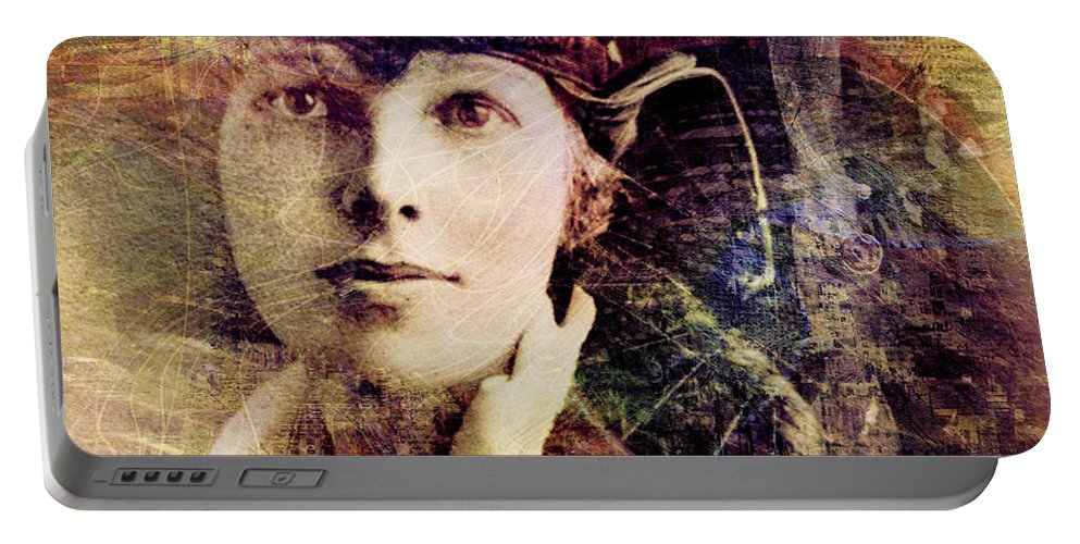 Amelia Earhart Portable Battery Charger featuring the digital art Amelia by Barbara Berney