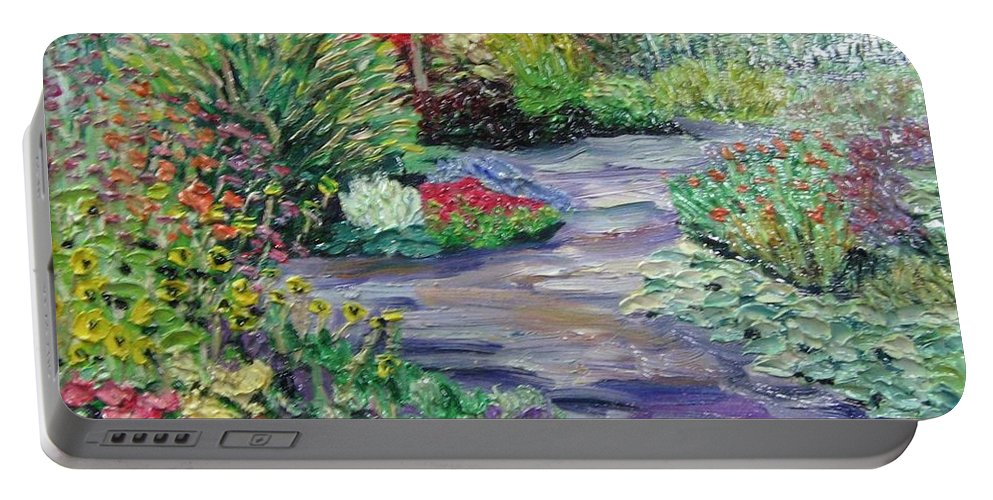 Park Portable Battery Charger featuring the painting Amelia Park Blossoms by Richard Nowak