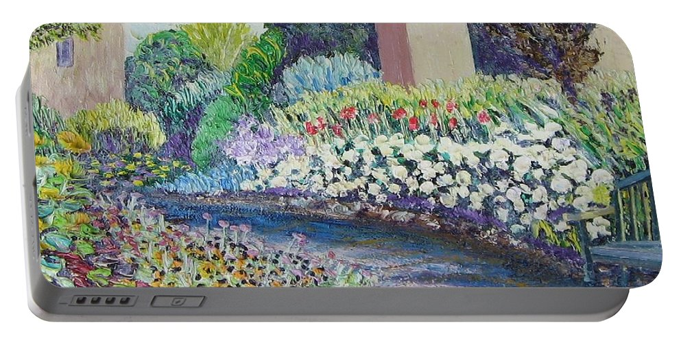 Flowers Portable Battery Charger featuring the painting Amelia Park Pathway by Richard Nowak
