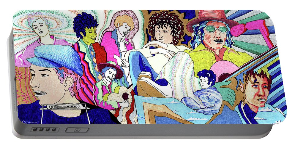 Bob Dylan Portable Battery Charger featuring the painting Jelly Roll Bob - Portraits Of Dylan by Miko At The Love Art Shop