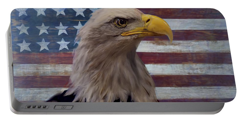 American Bald Eagle Portable Battery Charger featuring the photograph American Bald Eagle And American Flag by Garry Gay