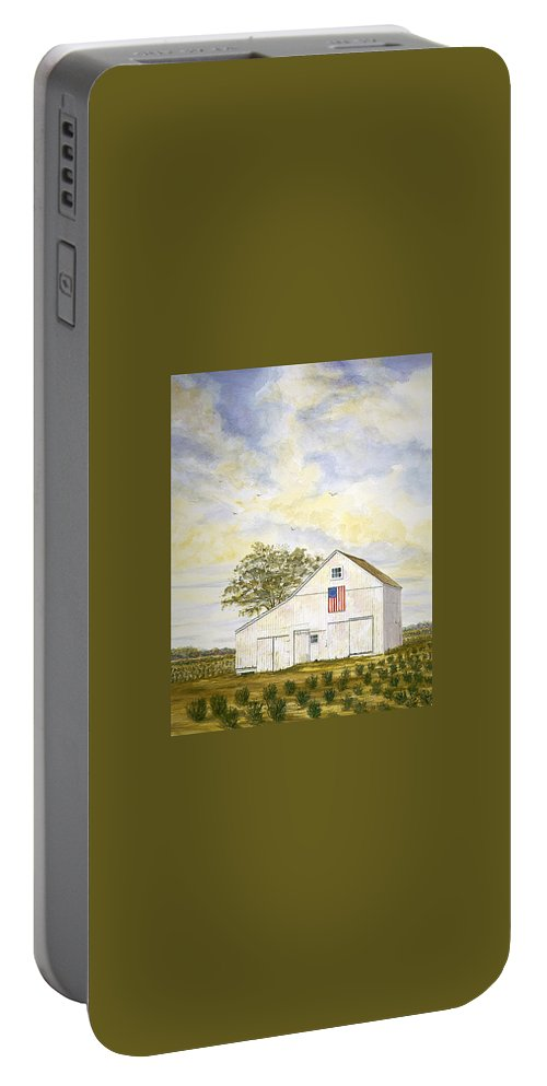Portable Battery Charger featuring the painting American Barn by Tony Scarmato