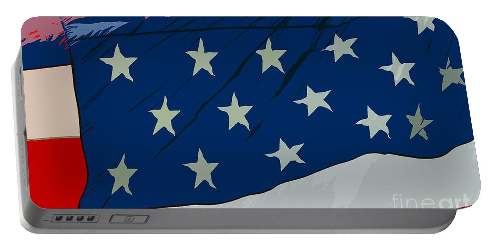 Flag Portable Battery Charger featuring the painting American Beauty by David Lee Thompson