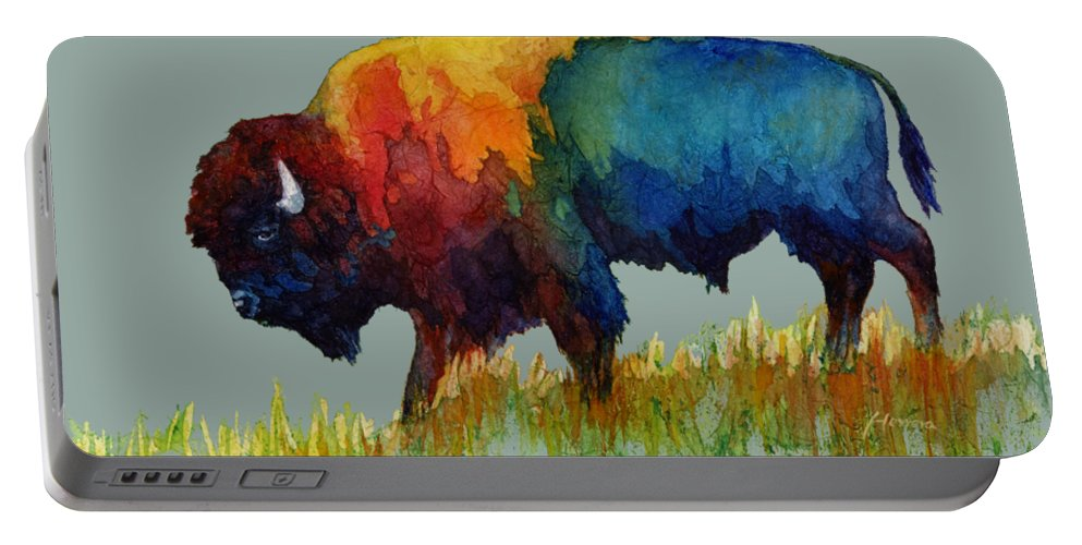 Bison Portable Battery Charger featuring the painting American Buffalo III by Hailey E Herrera
