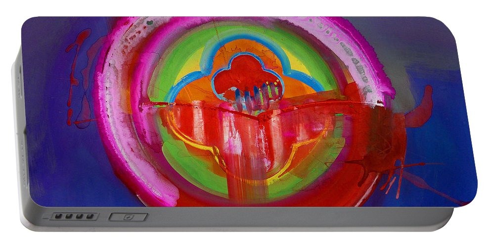 Button Portable Battery Charger featuring the painting American Evangelical by Charles Stuart