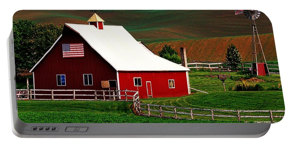 American Portable Battery Charger featuring the photograph American Farm by Dawn Van Doorn