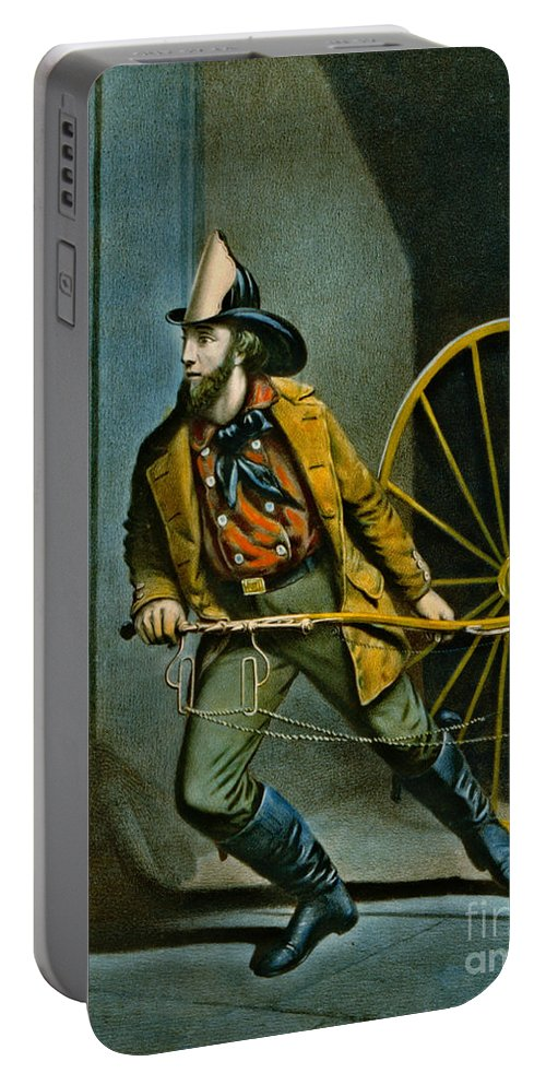 American Fireman 1858 Portable Battery Charger featuring the photograph American Fireman 1858 by Padre Art